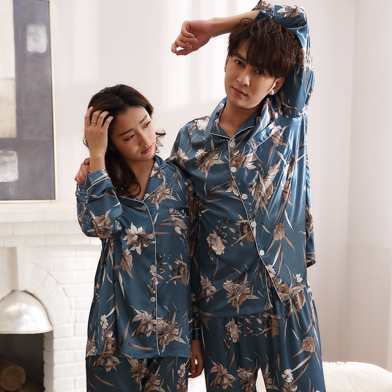 Couple Satin Silk Pajama Set Sleepwear Men Women Sexy Soft Homme Cozy Satin Nightgown Casual Lounge Pajama Nightwear