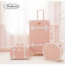 Suitcase Wheel-Trolley Travel-Bag Rolling-Luggage-Sets Retro Vintage Handbag Spinner