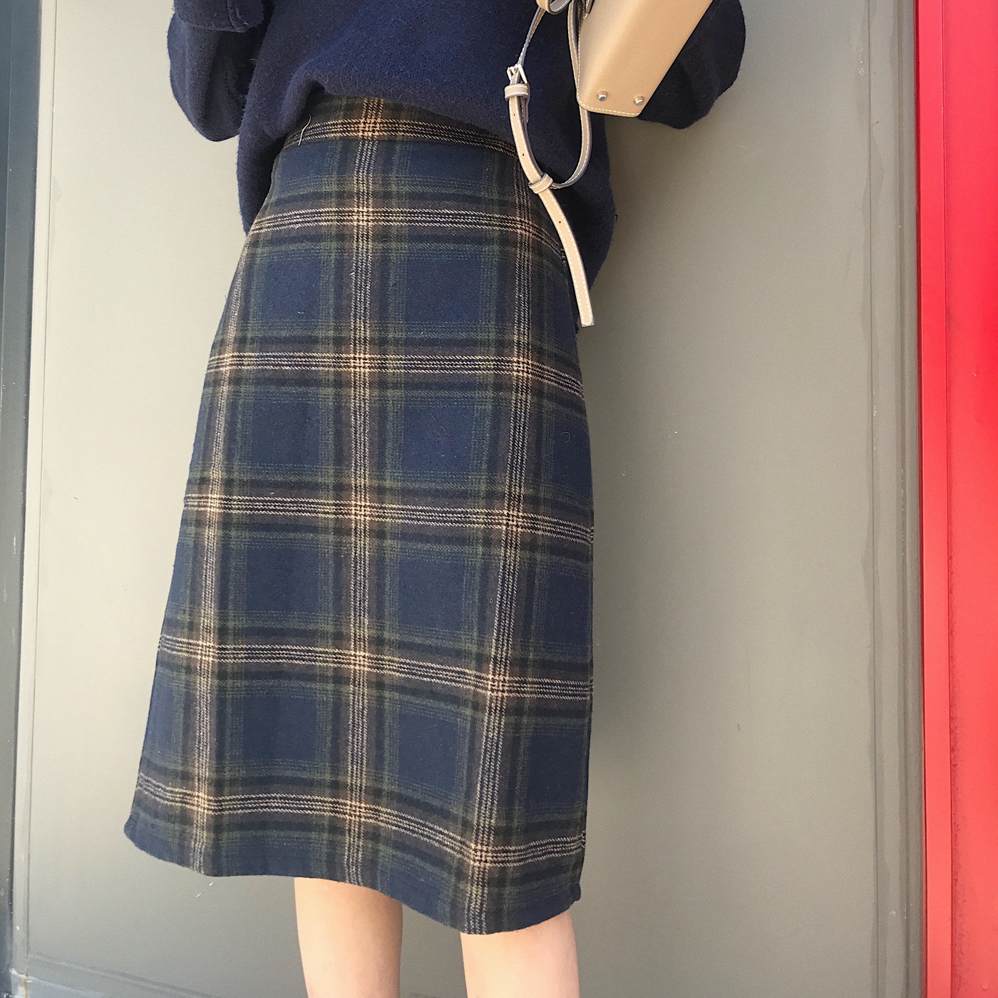 2019 Autumn And Winter Retro High-waisted Plaid Woolen Skirt Student Thick Mid-length