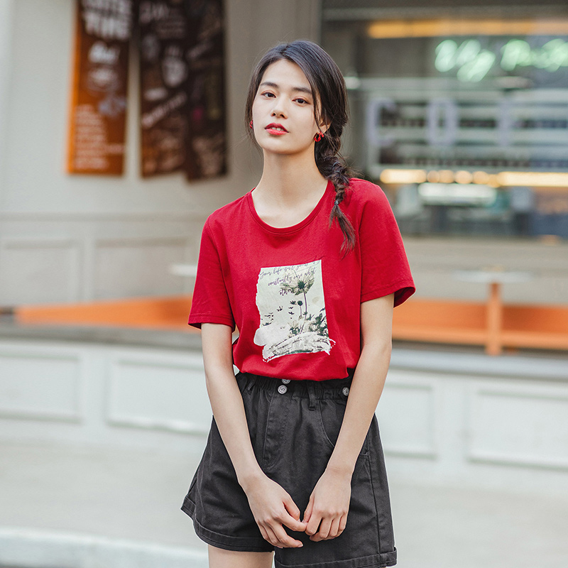 INAMN 2020 Summer New Arrival O-neck Loose Cotton Personality Print Literary Pure and Fresh Short Sleeve T-shirt 1
