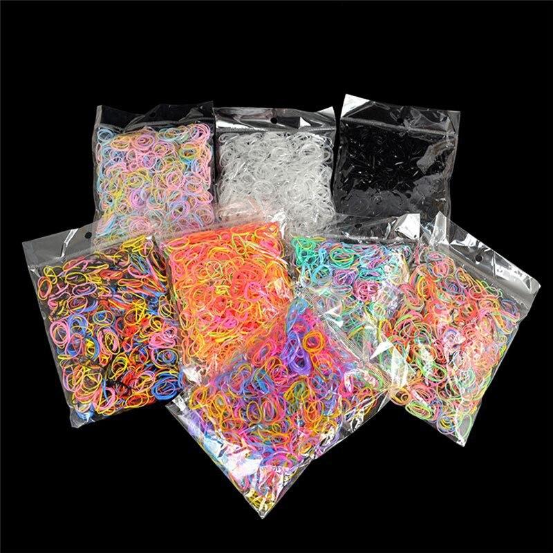 1000 шт. разноцветные резинки маленькие круглые веревки для волос крепкие эластичные резинки для девочек канцелярские принадлежности
