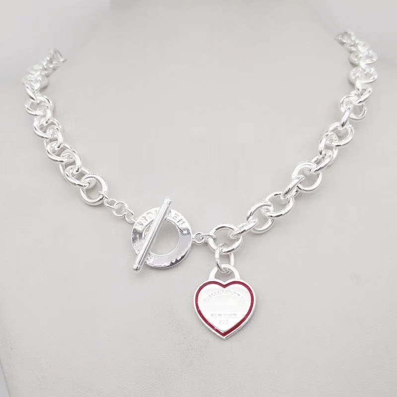 1: 1 original model 925 sterling silver heart necklace classic fashion heart pendant necklace logo ladies jewelry birthday gift