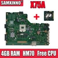 For Asus A75A X75A X75A1 X75VB 노트북 마더 보드 HM70 SLJNV 지원 B 시리즈 cpu 메인 보드 REV:2.0 4GB RAM PGA989 메인 보드