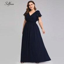 בתוספת גודל שמלות לנשים 4xl 5xl 6xl חדש קיץ שמלת קו V צוואר אבוקה שרוול ארוך שיפון חוף שמלת מקסי Boho שמלות