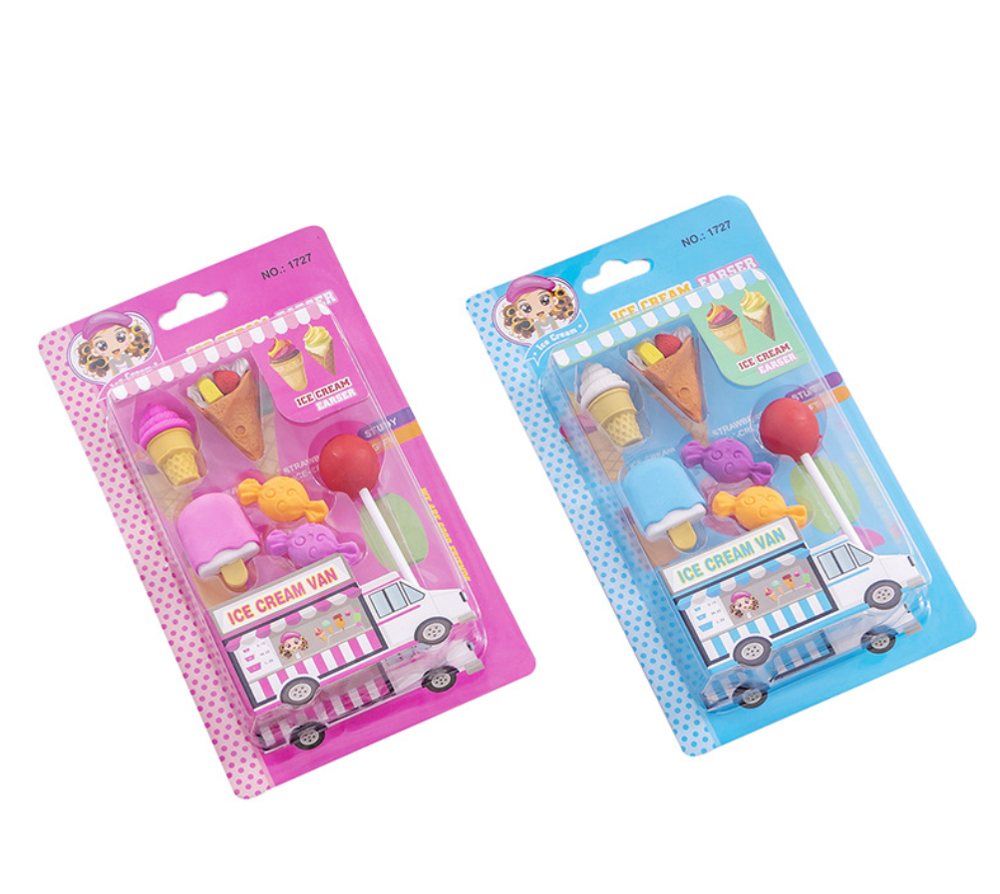Cute  Ice Cream Lolipop Pens Eraser Set Kawaii Pencil Erasers For Kids Rubber Stationery School Supplies Student Prizes Gifts
