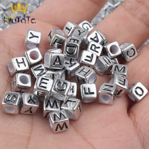 100pcs Mixed English Letter Beads Square Grey Alphabet Number Beads For Jewelry Making DIY Charms Bracelet Necklace 6*6mm