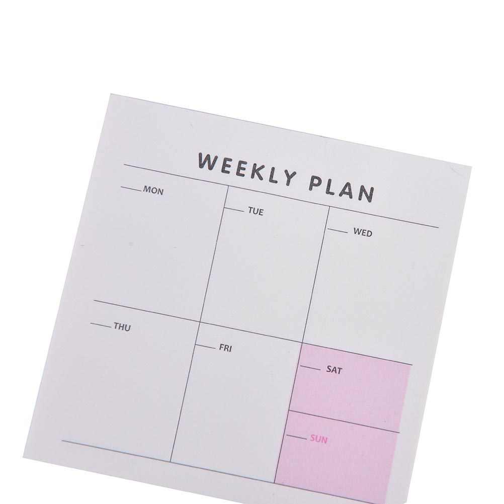 Journal hebdomadaire mois planificateur liste de contrôle Portable petit livre bloc-Notes Notes autocollantes papier autocollants papeterie fournitures scolaires