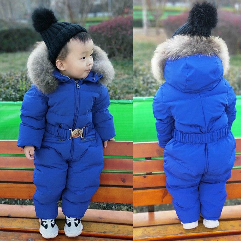 Enfant en bas âge enfants vêtements de neige enfants hiver froid 90% doudoune pour filles garçons vêtements de neige bébé enfants manteaux combinaison