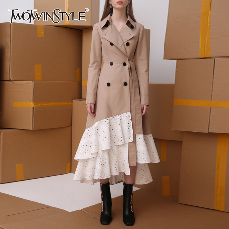 TWOTWINSTYLE Hollow Out Asymmetrical Windbreakers For Women Lapel Collar Long Sleeve High Waist Trench Coats Female 2019 Autumn