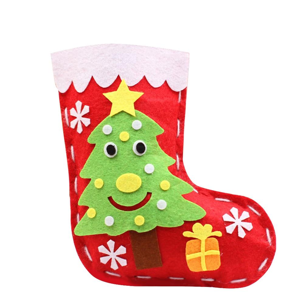 10pcs Kids Handmade Christmas Stocking Kit Diy Cartoon Sock Gift Holder Bag Kids Toy Non-Woven Gift Candy Bag Xmas New Year Gift