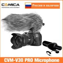 Comica Micrófono de cámara CVM V30 PRO, supercardioide eléctrico, condensador direccional, vídeo, para Canon, Nikon, Sony, DSLR