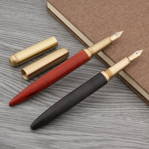 luxurious quality brass Red wood Pear Rosewood golden Iridium classic fountain pen(China)
