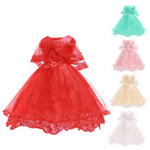Baby Cotton Lining Lace Baby Dress 2019 New 1 Year Old Girl Baby Dress Birthday Official Toddler Princess Dress(China)