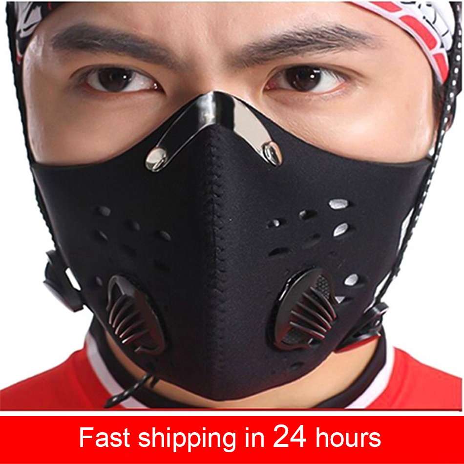 PM2.5 Dust Mask Activated Carbon With Filter Anti-Pollution Cycling Face Respirator Mask Protect Health With Breath Valve