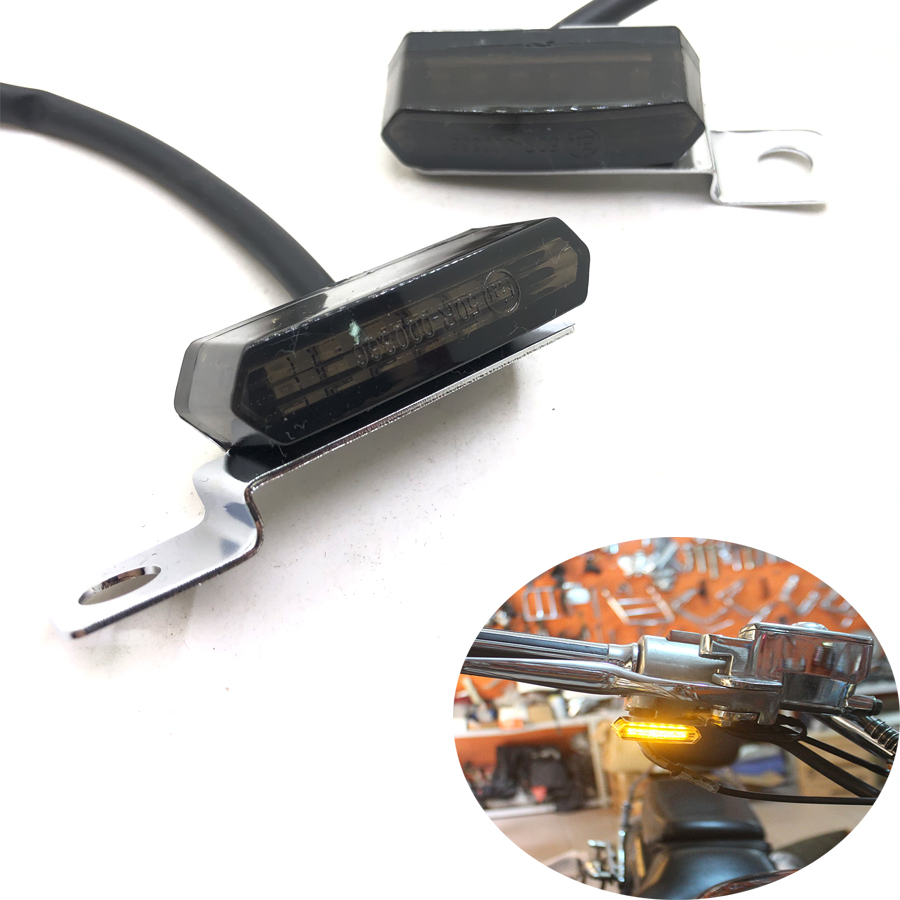 1 Pair Universal Mini LED Motorcycle Brake Clutch Lever Light Flowing Water Turn Signal Flashers For BMW Ducati Triumph Suzuki