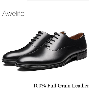 Shoes Leather Men 100% Genuine Leather Shoe Formal Office Party Wedding Dress Derby Brand Luxury Men's Oxford Shoes derby shoes men genuine leather luxury brand handmade vintage retro office formal party wedding dress shoes men
