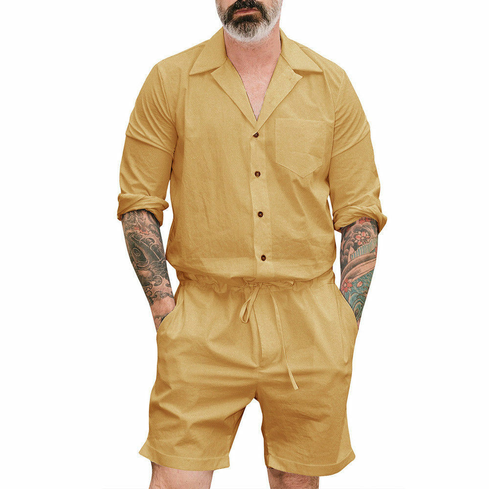 Summer Men Plus Size Casual V-neck Short Sleeve One Piece Rompers Street Cargo Pants Solid Jumpsuit Bodysuits Overalls