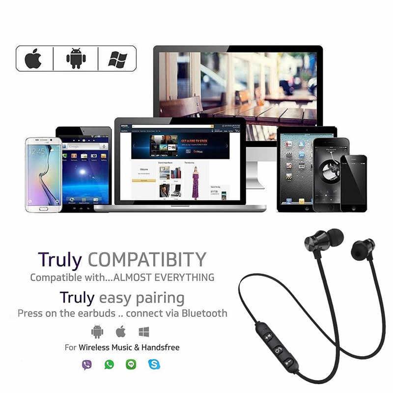 Magnetyczny Bluetooth bezprzewodowa słuchawka stereo Sport zestaw słuchawkowy do iphone'a X 7 8 Samsung S8 Xiaomi Huawei wodoodporne słuchawki douszne z mikrofonem