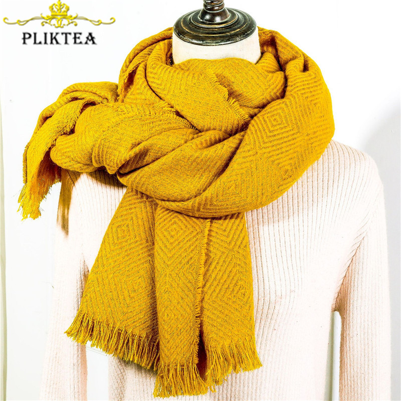 Faux Cashmere Winter Ginger Yellow Scarf For Women Merino Wool Black Poncho Solid Solor Ladies Scarf Women's Shawl Gray Pashmina