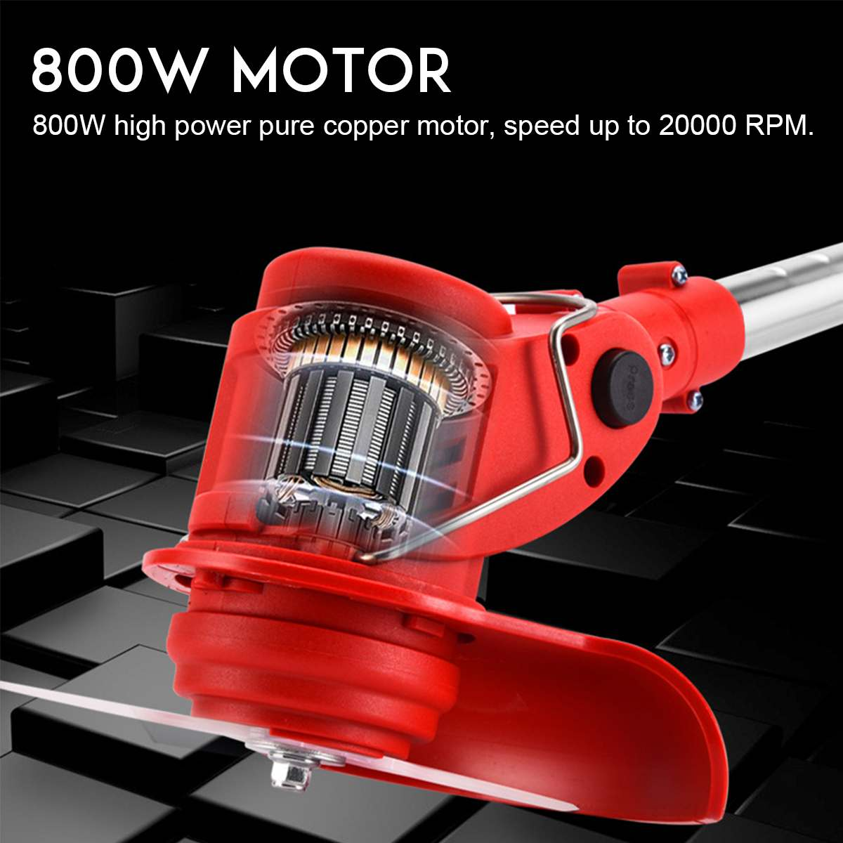 Tools : 24V Cordless Electric Grass Trimmer with 7Pcs Blade 6000mh Battery Adjustable Lawn Mower Home Push Lawnmower Garden Power Tool