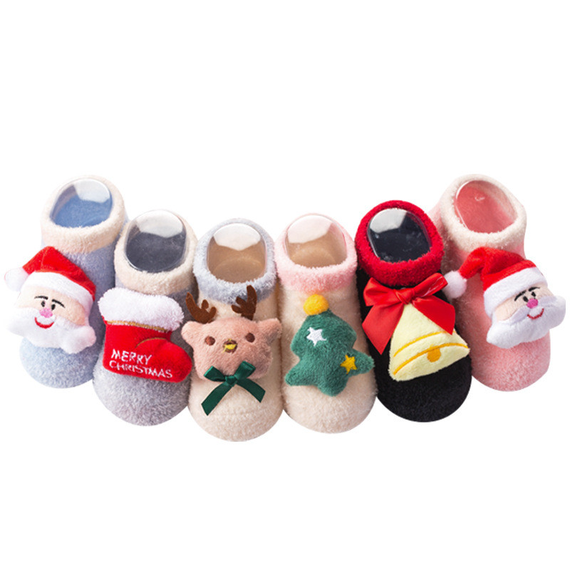 Носки для малышей; рождественские нескользящие носки для маленьких девочек; теплые короткие зимние нескользящие носки с рисунком для