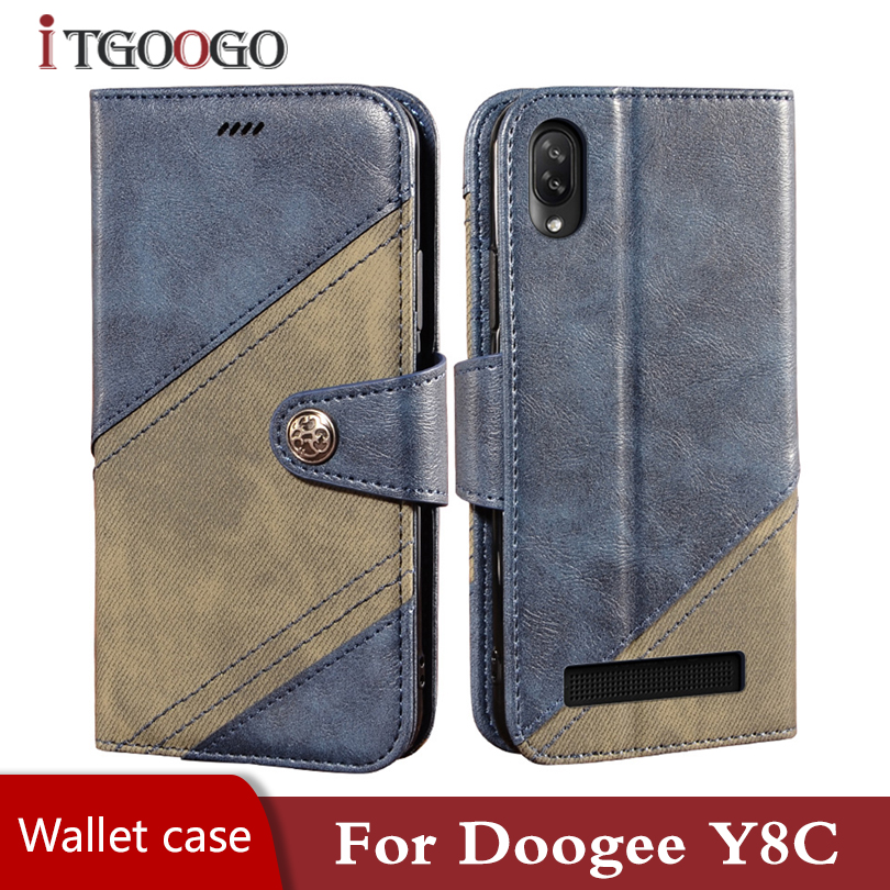 Leather Case on Doogee Y8C back shockproof cover Magnetic luxury wallet phone case for Doogee Y8C Y7 Y8 Y7 Plus Y6 cover funda image