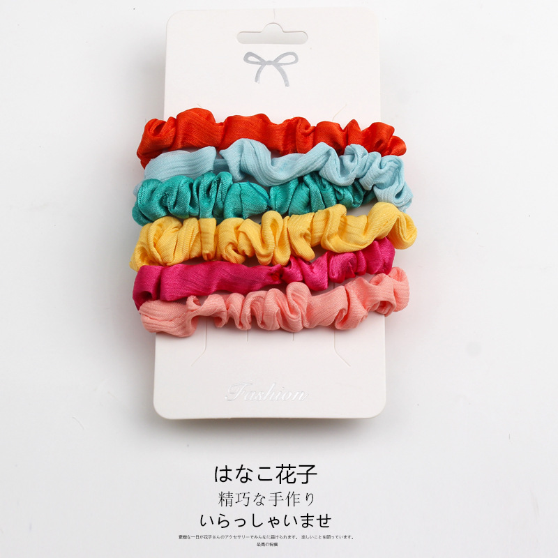 CN 6pcs/sets Solid Color  Hair Ties For Girls Satin Scrunchies Stretch Ponytail Holder Elastic Hair Scrunchie Pack