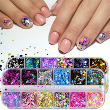 1 zestaw kolorowe ultracienkie cekiny Nail Glitter Shinning płatki okrągłe Paillette mieszane proszek Manicure paznokci dekoracje artystyczne TRPA F