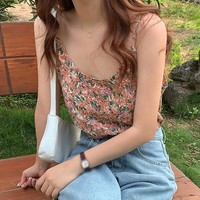 New Summer Camisole Ladies Sweet Floral Print Vintage Camisole Sleeveless V Neck Sling Sexy Camisole Tops