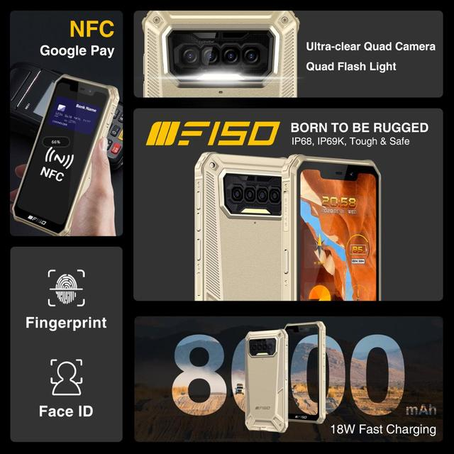 F150 B2021IP68/69K Rugged SmartPhone 6GB+64GB 8000mAh Octa Core Mobile Phone NFC 5.86'' HD+ MediaTek Helio G25 13MP Camera Phone 4