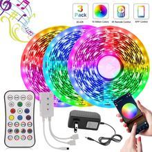 5M taśma LED Light RGB 5050 sterowanie Bluetooth 12V elastyczna wstążka zmiana koloru taśmy diody oświetlenie inteligentne LED do dekoracji wnętrz tanie tanio ledcbet CN (pochodzenie) Salon 50000 MOTION 3 84 w m 12 v Smd5050 LED Strip Set RGB5050 LED Strip 5050 Bluetooth led strip light