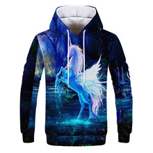 Angel wing Horse Braid 3D Print Sweatshirts Men Hoodies Tracksuit Pullover Autumn Winter Animals Hoody Hooded Coat Brand S-4XL(China)
