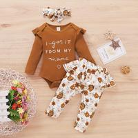 PatPat 2020 New Spring and Autumn 3 pieces Baby Girl Floral Sets for 0 12M Baby Girl Clothing Sets