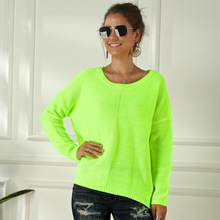 Women's Neon Color Sweater Spring Autumn Female Slash Neck Fashion Knitted Shirts Casual Oversized Pullover Loose Jumper Tops
