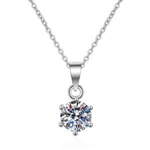 Image 5 - Gümüş 925 takı yuvarlak moissanite kolye 1.00ct D VVS 925 gümüş kolye klasik altı pençe kolye kadınlar için