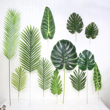 Artificial Monstera Plants Plastic Tropical Palm Tree Leaves Home Garden Decoration Accessories Photography Decorative Leaves artificial tropical palm leaves monstera leaves 7 leaves bouquet 70cm simulated green plant leaf for indoor home decoration