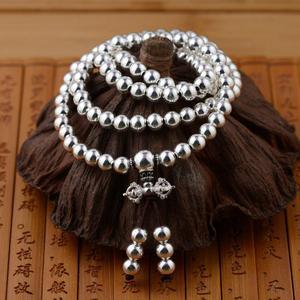 Image 3 - Pulsera Plata de Ley 925 auténtica cuentas redondas multicapas de 108 para mujer, joyería budista hecha a mano para manualidades con cuentas
