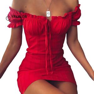 SVOKOR Ruffles Strapless Women Dress Sexy Package hip Dress Women Party Club hollow out dresses Summer 2020