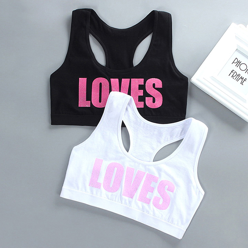 Girl Racerback Cotton Sport Training Bra With Love Letter Print Solid Color Wide Strap Underwear   Crop Top