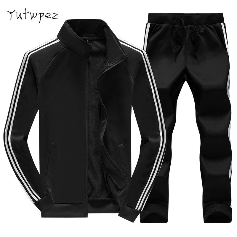New 2019 Autumn Winter Men's Sweatsuit Sets 2 Piece Zipper Jacket Track Suit Pants Casual Tracksuit Men Sportswear Set Clothes