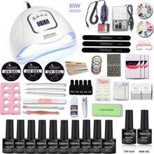 Nail Set 80/54/36W UV LED Dryer With 10pcs Gel Polish Kit Soak Off Manicure Tools electric drill machine