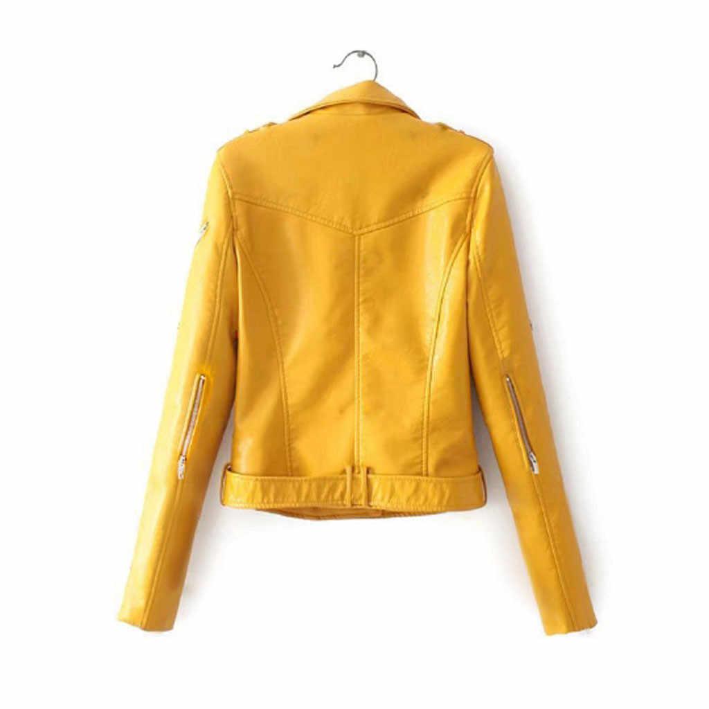 Sztuczny zamsz Slim fajne damskie marynarki kobiety panie Lapel kurtka motocyklowa płaszcz Zip Biker krótki Punk przycięte topy kurtka motocyklowa