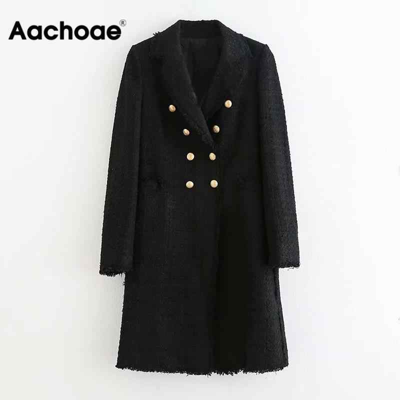 Vrouwen Double Breasted Elegante Zwarte Blazers Lange Mouwen Notched Kraag Mid Lengte Blazers Button Fashion Office Chaqueta Mujer