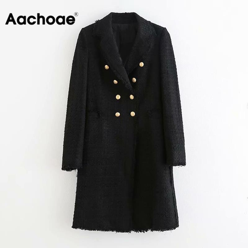 Women Double Breasted Elegant Black Blazers Long Sleeve Notched Collar Mid Length Blazers Button Fashion Office Chaqueta Mujer