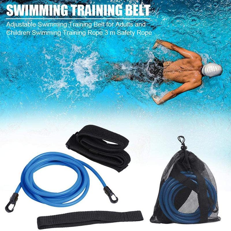 Adjustable Swim Training Resistance Elastic Belt Swimming Exerciser Safety Rope Tube Swimming Exerciser Safety Home Training