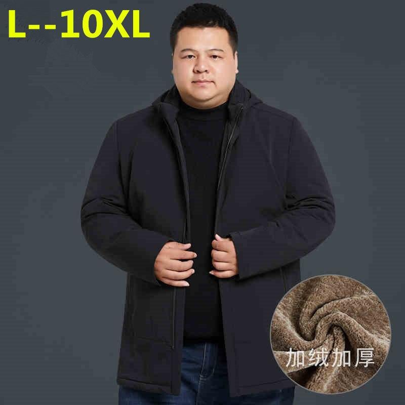 10XL 9XL 8XL The New Winter Jacket Middle Age Men Plus Thjck Warm Coat Jacket Men's Casual Hooded Coat Jacket Size 4XL 5XL 6XL