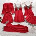 Женские пижамные комплекты, атласная Шелковая пижама из 5 предметов, пижама на тонких бретельках, кружевная Пижама для сна с нагрудными накл...