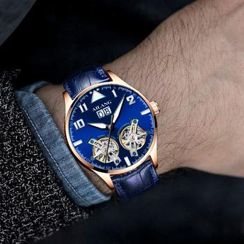 AILANG męskie zegarki męskie luksusowa marka zegarki na rękę mężczyźni jest mechaniczne zegarki na rękę Tourbillon męskie zegarek mechaniczny 2019 tanie i dobre opinie Bransoletka zapięcie 5Bar 20inch Luksusowe Ze stali nierdzewnej Automatyczne self-wiatr 10mm Okrągły Papier 20mm Strumień światła