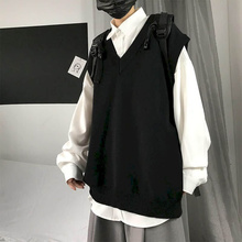 Vest Sweater Sleeveless Waistcoat V-Neck Knitted College-Style Autumn Male Solid Trend