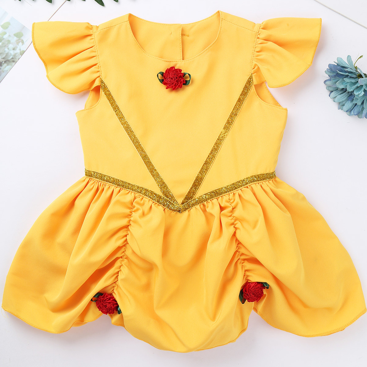 Infant Baby Girls Flutter Sleeves 3D Rosettes Buttons Closure Back Romper Dress for Halloween Cosplay Party Costume Dress Up